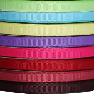 100Y 3/8 Solid color plain grosgrain ribbon Pink green blue