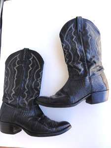 Vintage mens J Chrisholm black Leather lizard western cowboy boots 11