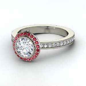Roxanne Ring, Round Diamond 14K White Gold Ring with Ruby