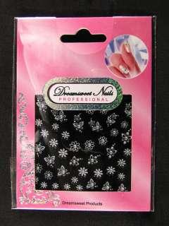 Glitter 2D Crystal Flower Nail Art Sticker Delcals XD01