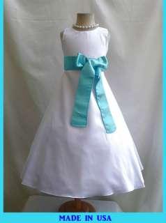 NEW CO5 WHITE AQUA/POOL BLUE FLOWER GIRL SUMMER PAGEANT DRESS