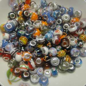 100pcs Murano glass Beads Fit European Charm Bracelet