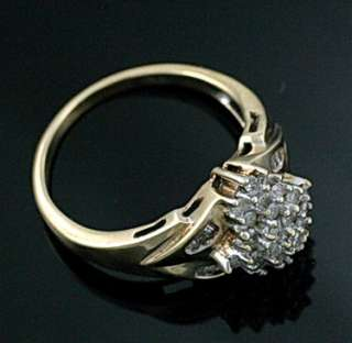 10K YG Gold Vintage Retro Diamond Cluster Cocktail Ring