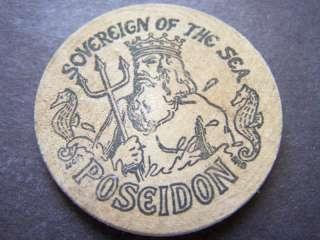 1969 Poseidon Hansel & Gretel Wood Mardi Gras Doubloon