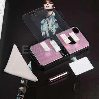 Pink Aluminum TPU Hard Case Cover W/Chrome Stand+Free Pen&Film