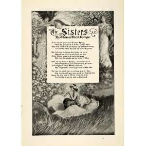 1913 Print Poetry The Sisters Poem Thomas Grant Springer