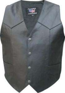 Mens Basic Solid Black Motorcycle Riding Vest no lace