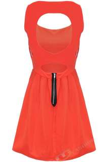 WOMENS LADIES LOVE HEART CUT OUT SKATER DRESS TOP 6 8 10 12 ORANGE