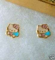 18K GOLD gf BEAUTIFUL Classic Pink HELLO KITTY FACE Girls STUD