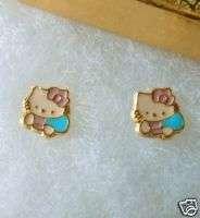 18K GOLD gf BEAUTIFUL Classic Pink HELLO KITTY FACE Girls STUD