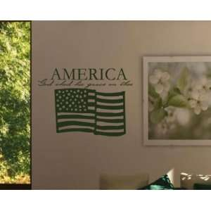 America God Shed His Grace on Thee Patriotic Vinyl Wall Decal Sticker