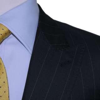 NWT METAMODA NAVY DARK BLUE MENS PINSTRIPE 2 BUTTON AUTHENTIC ITALIAN