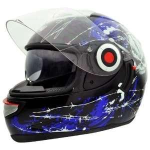 Headcase HC 888G Bone Blue Full Face Motorcycle Helmet Sz