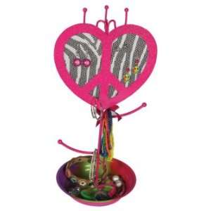 Molly n Me Zebra Print Peace Heart Jewelry Holder: Toys & Games