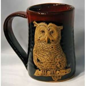 Owl 3D 24 oz. Tankard in Red and Black Full Body Kitchen