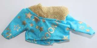 Barbie doll Skipper Hollywood Hair blue shirt gold collar top clothes
