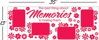 MEMORIES picture frames FLOWERS ** Vinyl Wall Decor Mural Quote