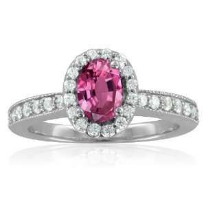 Milgrain Natural Pink Sapphire Diamond Engagement Ring 14k