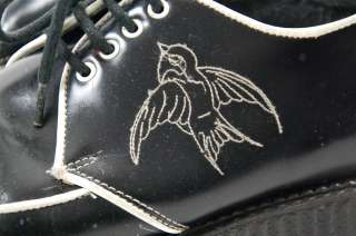 lace up PLATFORM CREEPERS embroidered bird rockabilly punk goth shoes