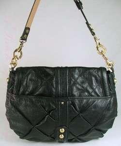 Steve Madden Ella Leather Medium Flap Hobo Bag Purse Black