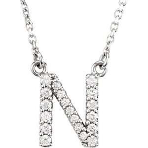14K White Gold Diamond Initial Necklace N Jewelry
