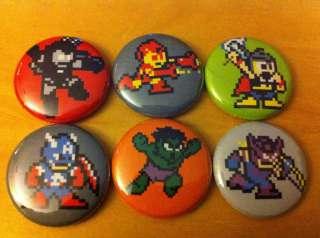 buttons set of 6 1 pins MARVEL HULK IRON MAN HAWKEYE NINTENDO