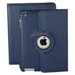 Dark Blue iPad 2 Magnetic Smart Cover Leather Case Rotating 360 Stand