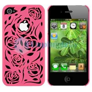 Carving Rose Flower Hard Case Cover+PRIVACY FILTER for iPhone 4 G 4S