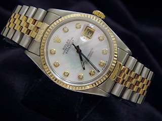 Mens Two Tone 14k Gold/SS Rolex Datejust Date Watch w/White MOP