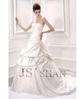 SALEJsshan Ivory Beading Layered Strapless Bridal Gown Wedding Dress