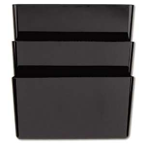 Recycled Wall File, Three Pocket, Plastic, Black Office