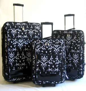 Piece Luggage Set Travel Bag Blk Floral Rolling Wheel