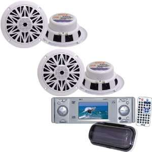 Pyle Marine Radio and Speaker Package   PLDMR3U In Dash Marine