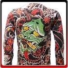 ls3 XL Demon Japanese Hannya Mask Devil Tattoo Handmade Tee Long