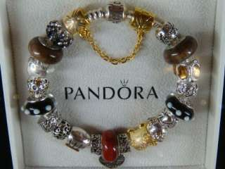 Authentic Pandora Silver Bracelet w 22 Beads & Charms Mother and