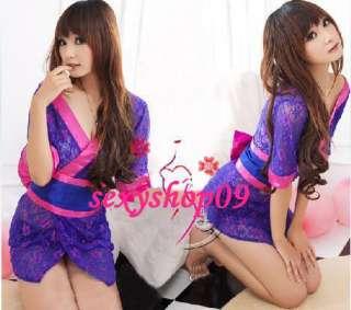 3PCS Sexy Purple Lace Kimono Japanese Dress Costume