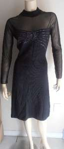 St. John Evening Black Knit Beaded Dress 6~~GORGEOUS~~