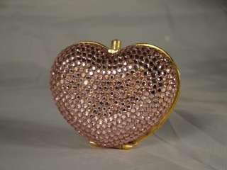 JUDITH LEIBER SWAROVSKI CRYSTAL PINK HEART PILL BOX RARE *THE PERFECT