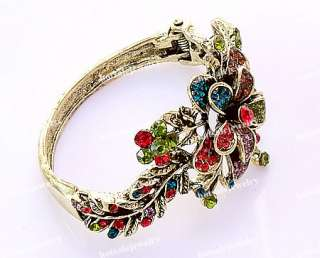 wholesale 6pcs VTG tone flower crystal rhinestone bracelets bangle