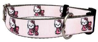 Hello Kitty Light Pink on Black Ribbon Dog Collar