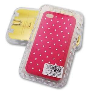 APPLE IPHONE 4 RUBBER PROTECTOR W/SPOT DIAMOND, HOT PINK