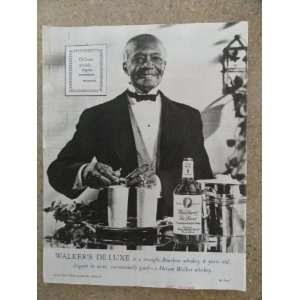DeLuxe Whiskey,Vintage 40s full page print ad (man serving drinks