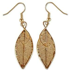 Natural Leaf Gold plated Earrings, Forest Duet Jewelry