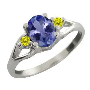 Oval Blue Tanzanite and Canary Diamond Sterling Silver Ring Jewelry