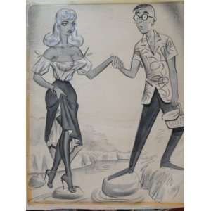 ORIGINAL BILL WARD CONTE CRAYON ARTWORK