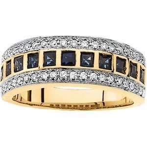 Gold Bridal Sapphire & Diamond Anniversary Band Ring Size 6.5 Jewelry