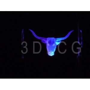 Longhorn Steer 3D Laser Etched Crystal FREE SHIPPING