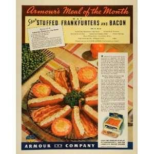 1937 Ad Armour Meat Stuffed Frankfurters Bacon Recipe   Original Print