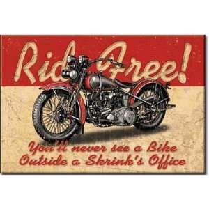 2x3) Ride Free Motorcycle Distressed Retro Vintage Refrigerator