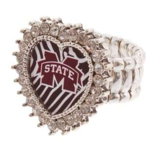 Toned Stretch Band Ring with Crystal Rhinestones Surrounding the Heart
